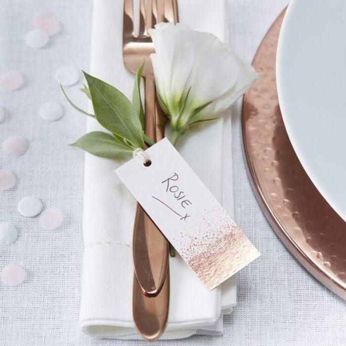 10 Etiquettes Métallique Rose Gold