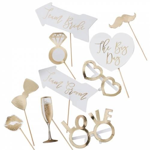 Kit photobooth mariage doré