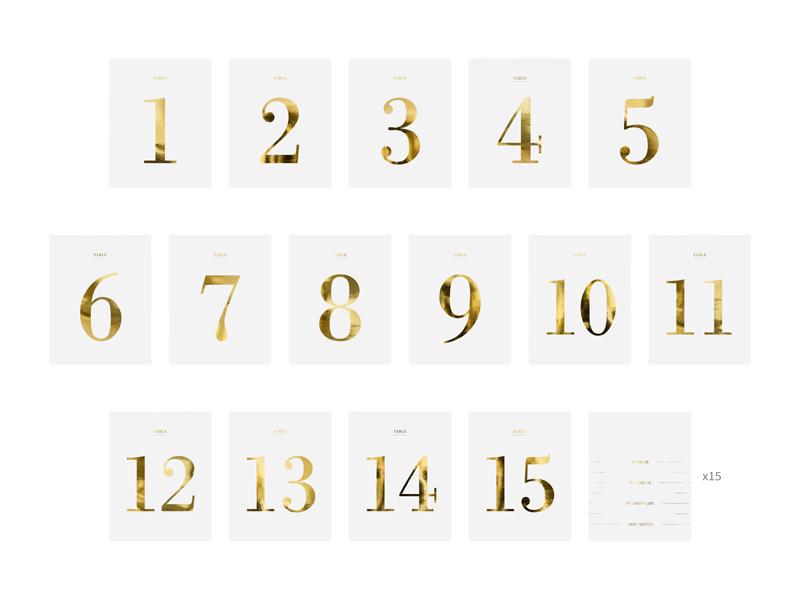 15 Numéros table bouteille autocollant Gold