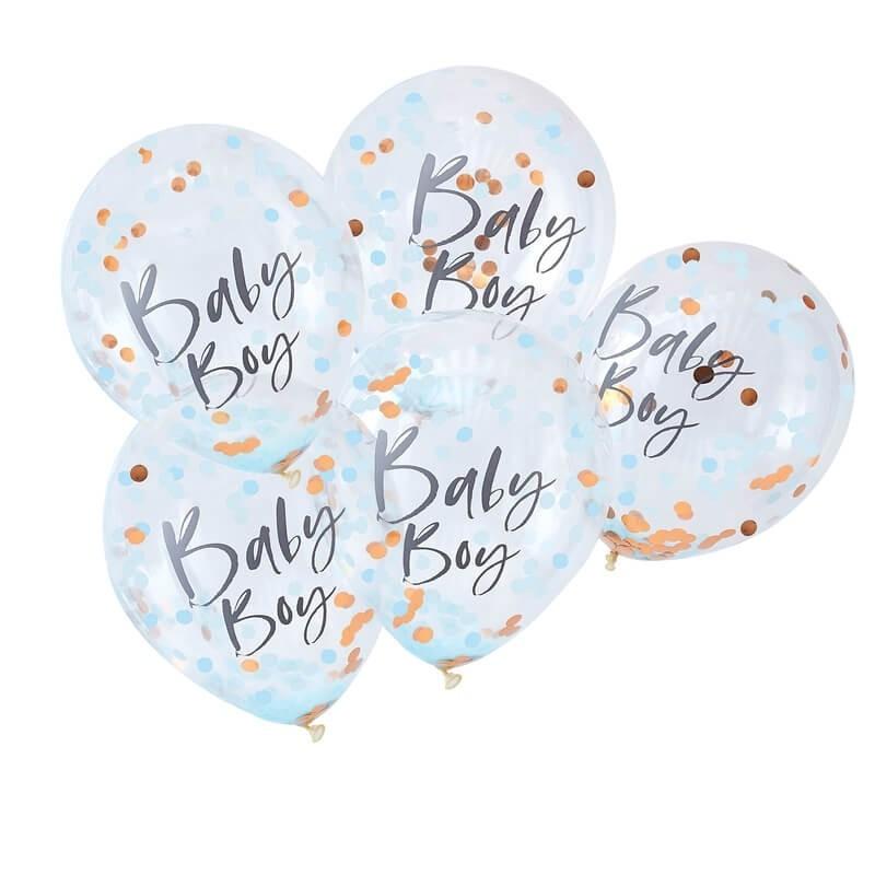 5 ballons confettis Baby Boy