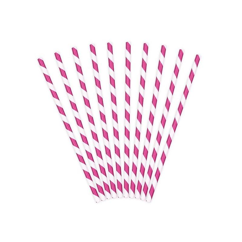 10 Pailles papier rayées fuchsia