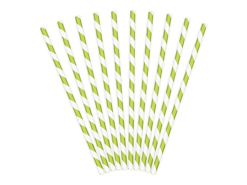 10 Pailles en papier rayées vert anis