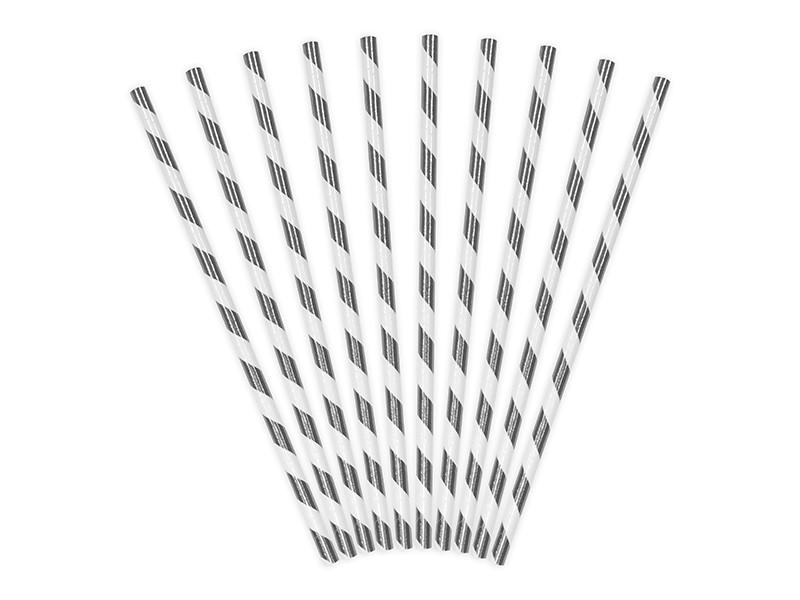 10 Pailles à rayure argentées