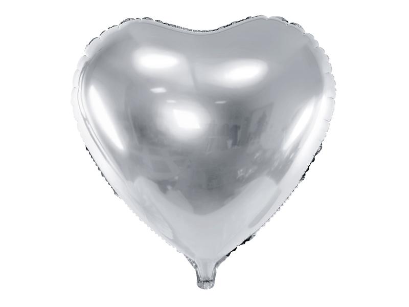 Ballon Mylar Coeur Argenté 45 cm