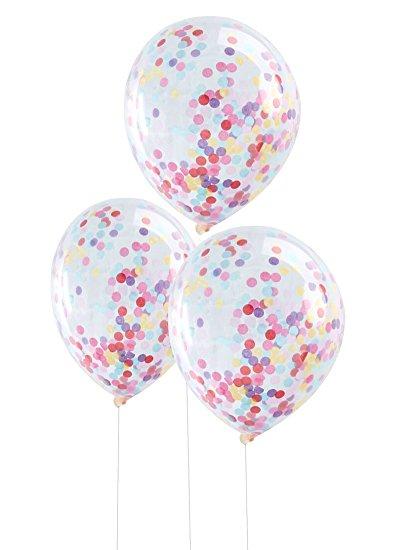 5 Ballons Transparents avec confettis multicolores