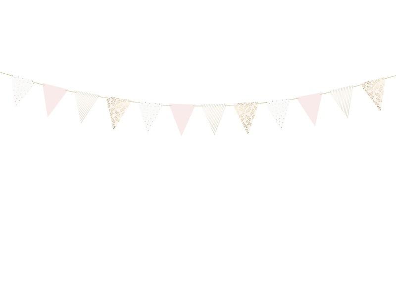 Guirlande fanions blanc rose et doré