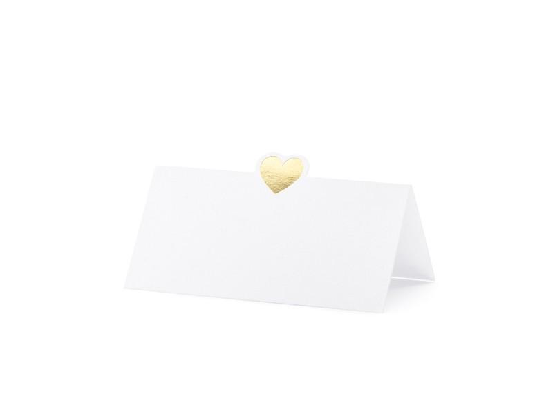10 marque places coeur doré