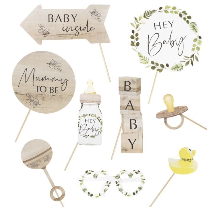 Kit photobooth Baby Shower ecologique