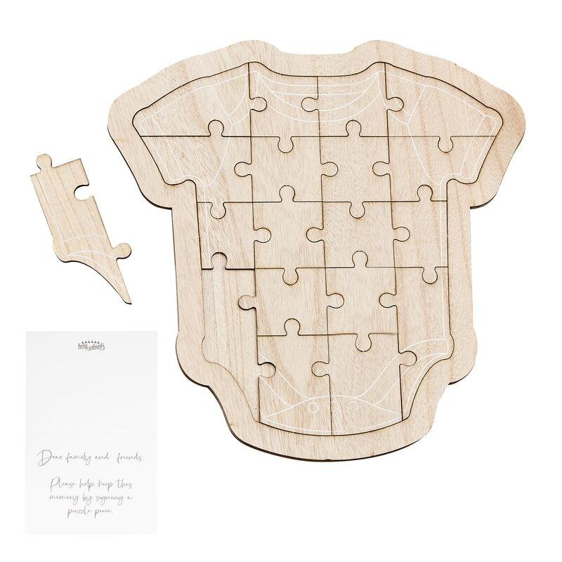Livre Baby Shower Puzzle en bois