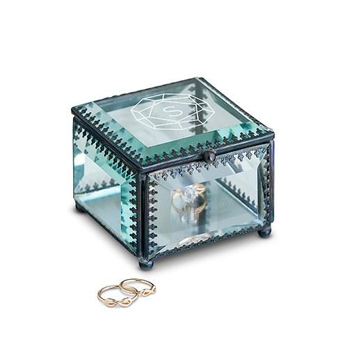 Boite à bijou monogramme en verre personnalisable