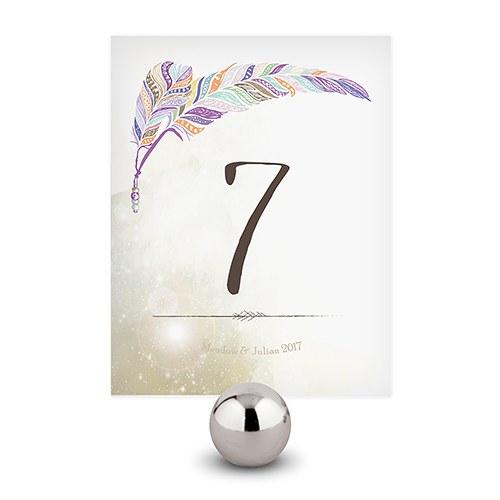 12 numéros de table plumes personnalisés