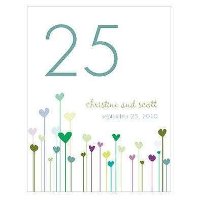 12 numéros de table carton Pousses de coeurs personnalisables