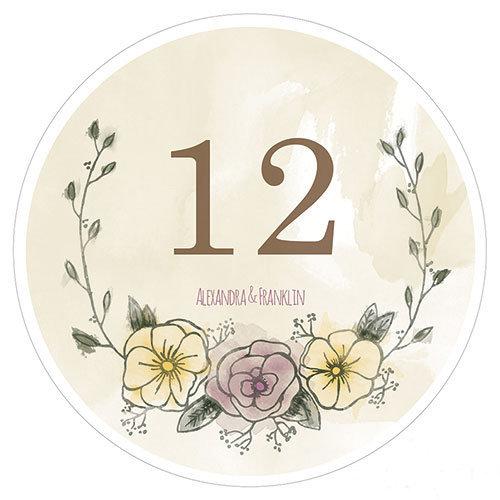12 numéros de table carton Rond Filigrane Fleuri personnalisés