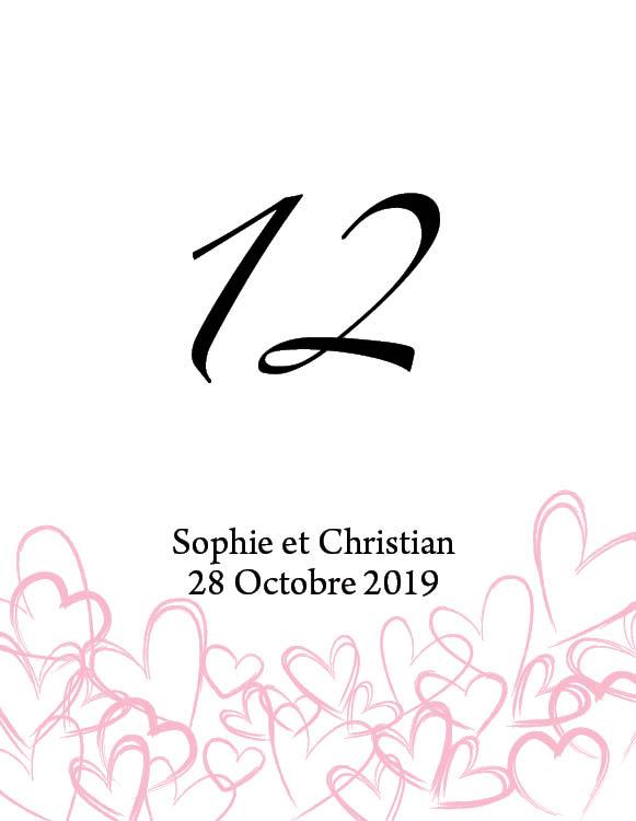 12 numéros de table carton Dessins de cœurs personnalisables