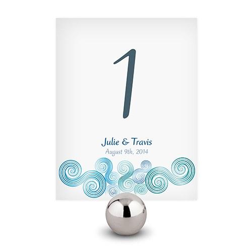 12 numéros de table carton Spirales bleues personnalisables