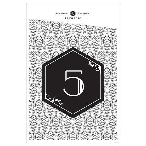 12 numéros de table Art-Déco Black/White personnalisables