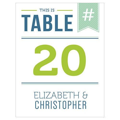 12 numéros de table carton HASHTAG personnalisables