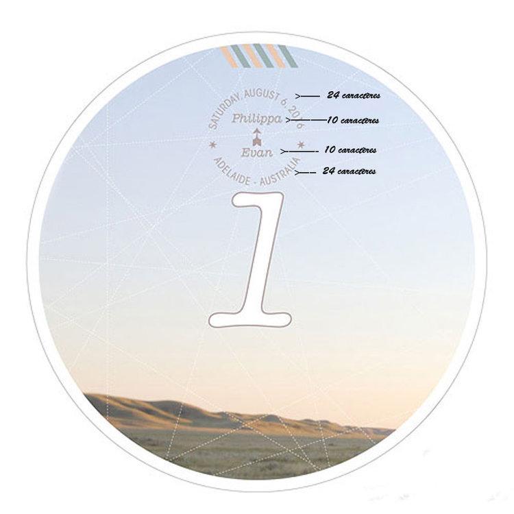 12 Numéro de table Globe Trotter à personnaliser