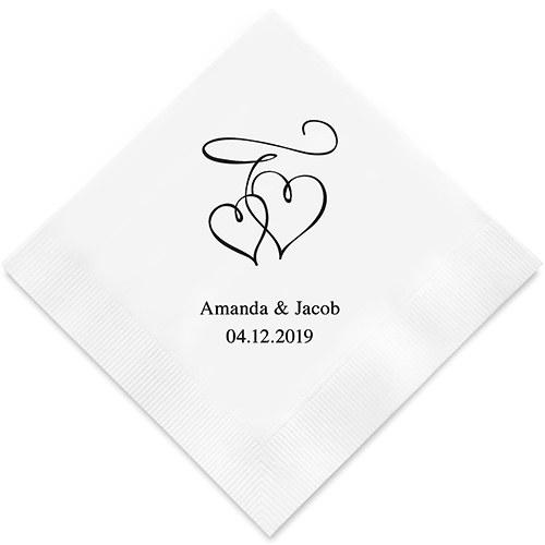 50 Serviettes personnalisées Coeurs