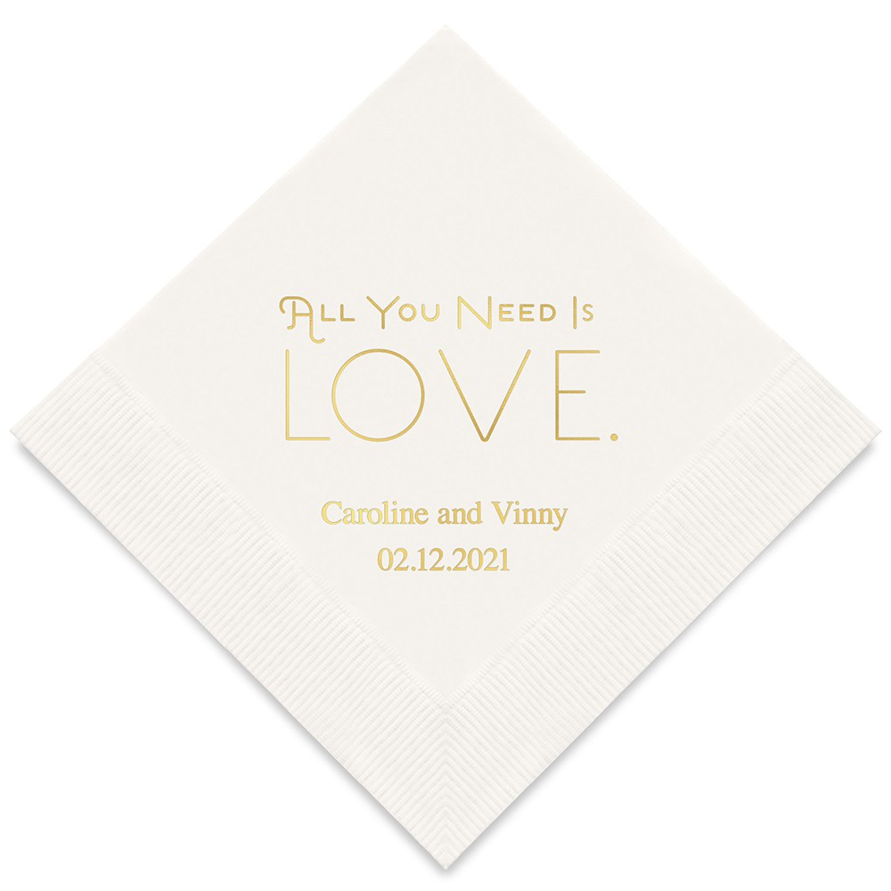 50 Serviettes personnalisées All you need is Love
