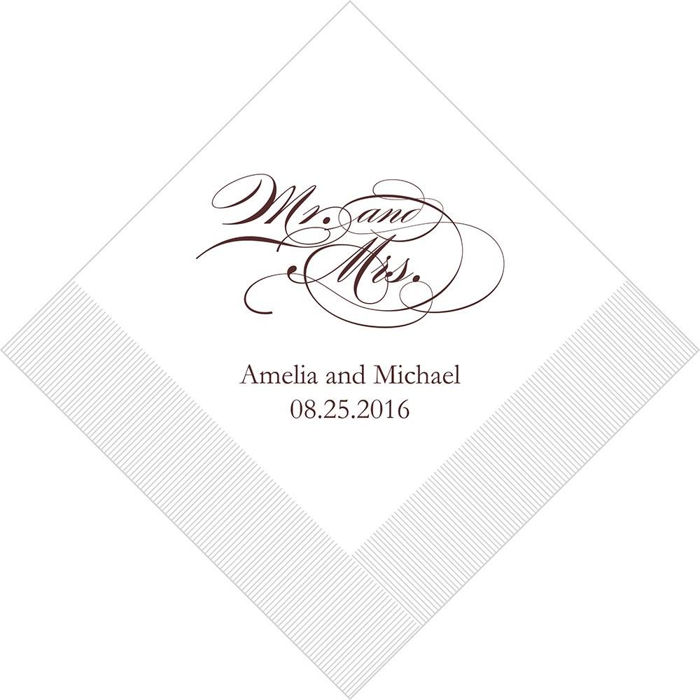 50 Serviettes personnalisées mr & mrs romantiques