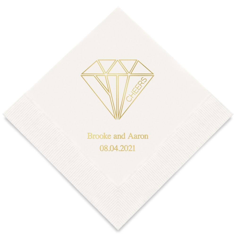 50 serviettes en papier Diamant Cheers Personnalisables