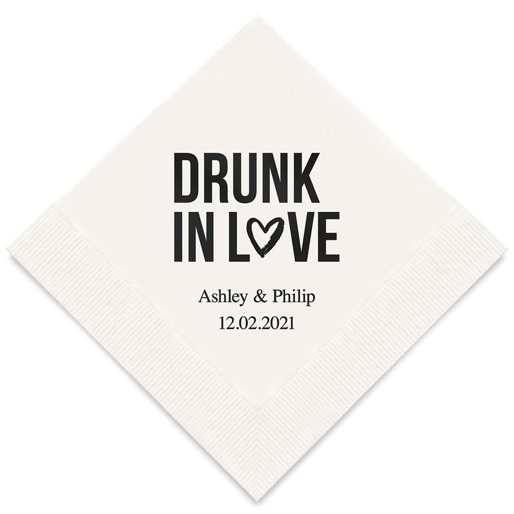 50 serviettes en papier Drunk in love Personnalisées