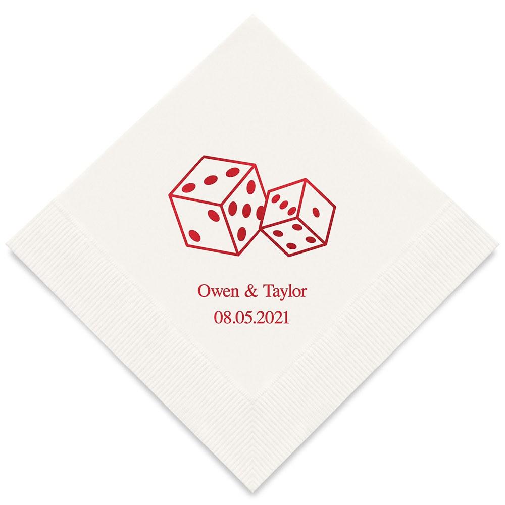 50 serviettes en papier Dés à jouer Personnalisées