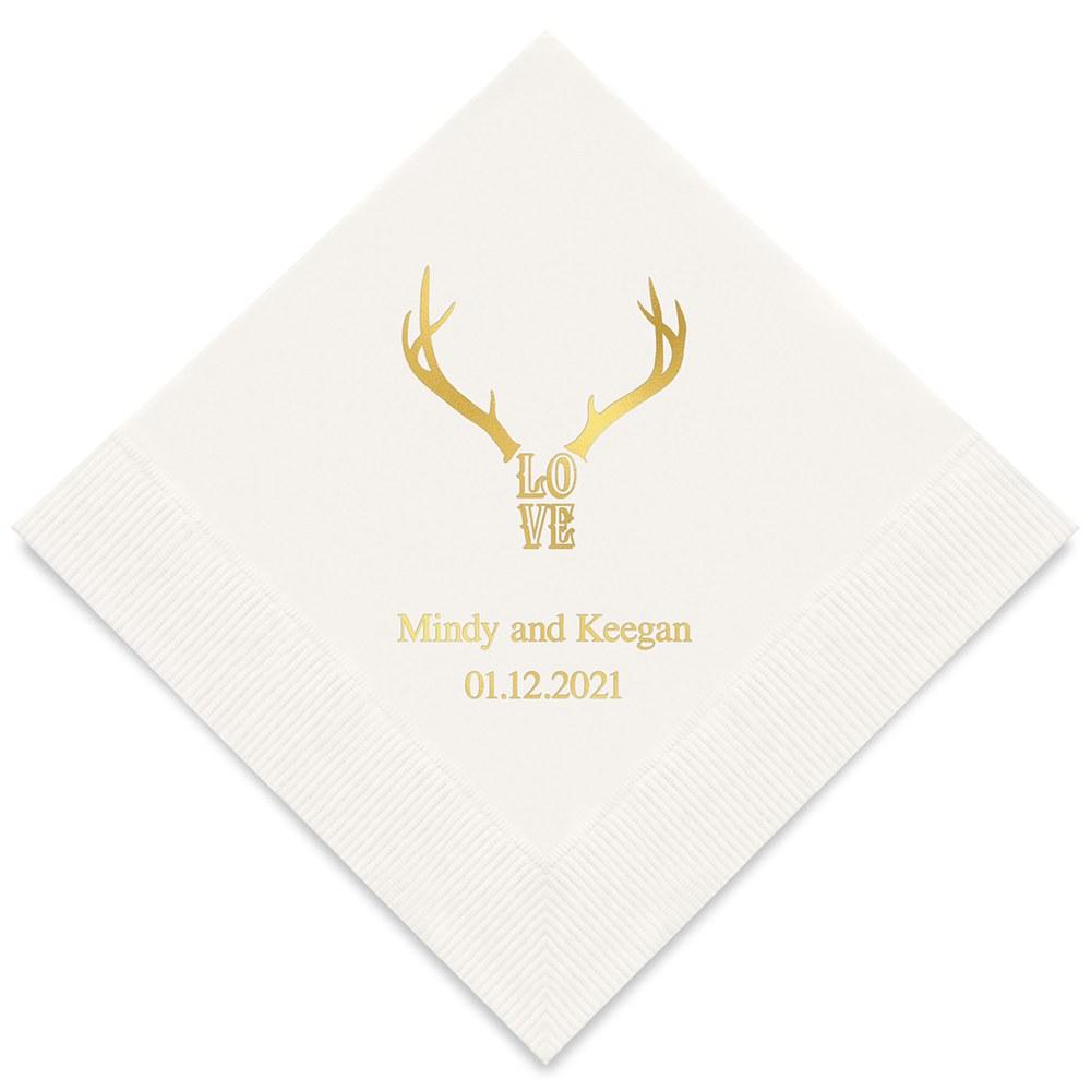 50 serviettes en papier personnalisées Love Cerf