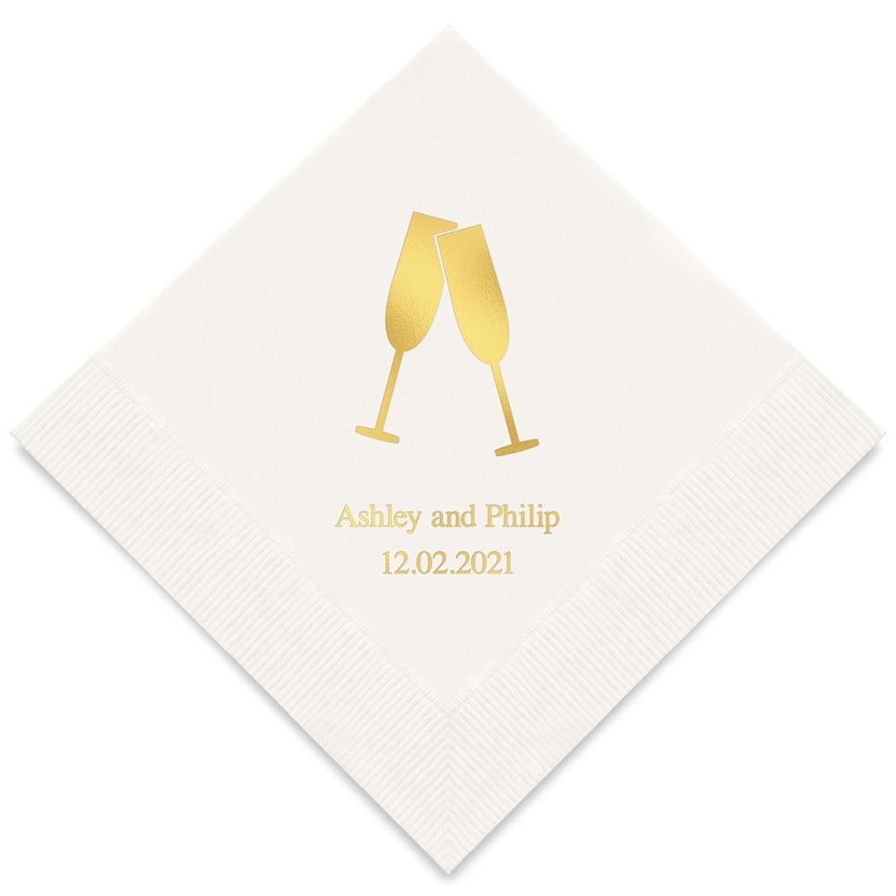 50 serviettes en papier personnalisées Champagne !