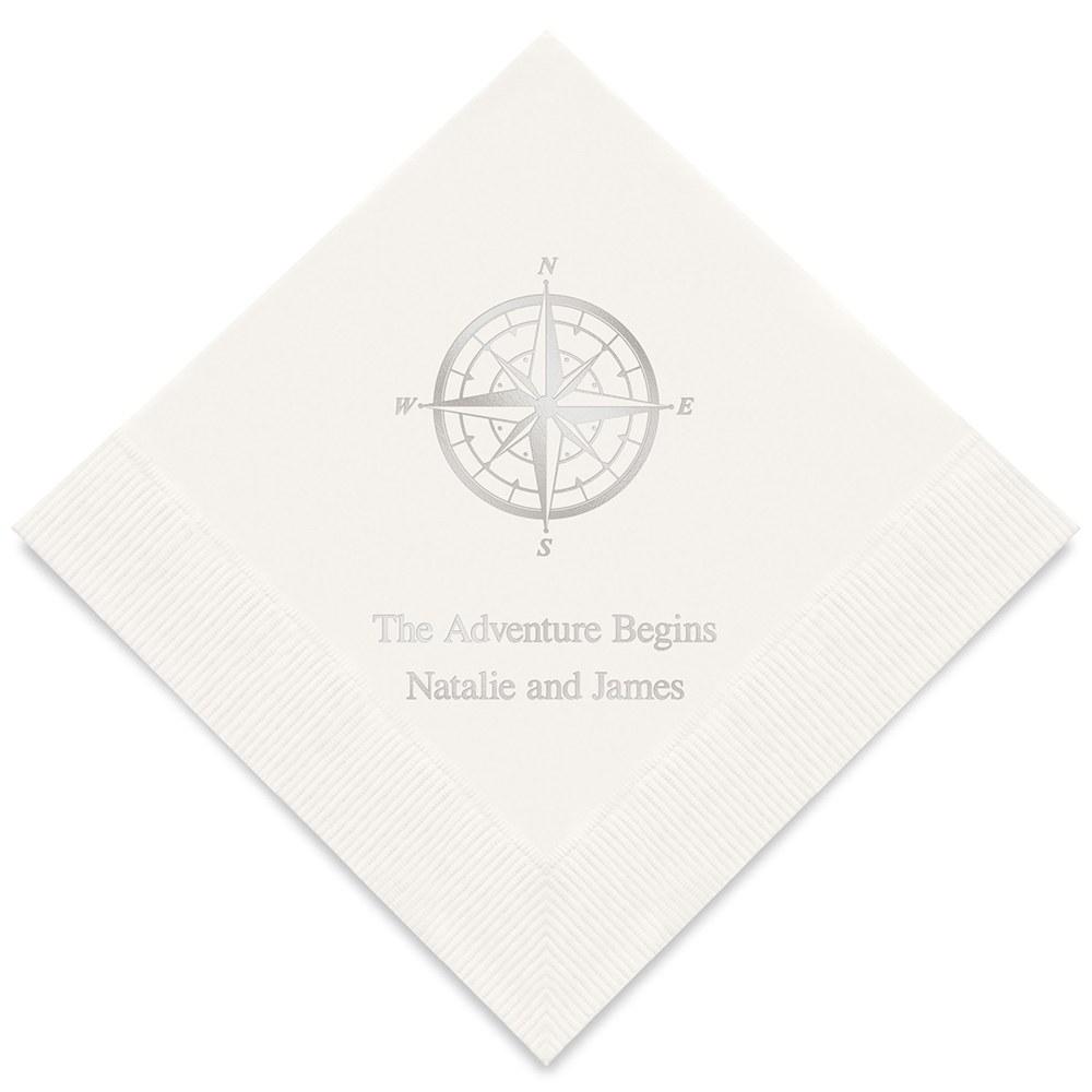 50 serviettes en papier personnalisées Boussole