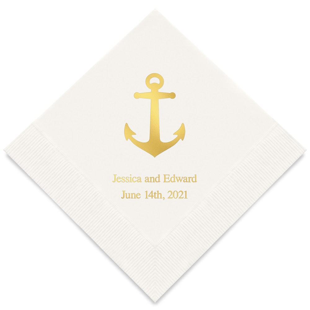50 serviettes motif Ancre marine personnalisables