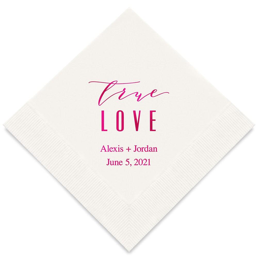 50 serviettes en papier personnalisées True Love