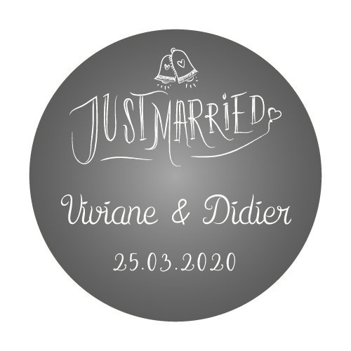 24 stickers Cloches Just Married