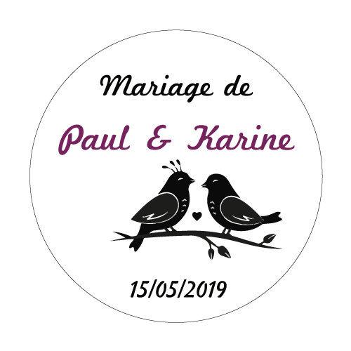 24 stickers Couple d\'oiseaux
