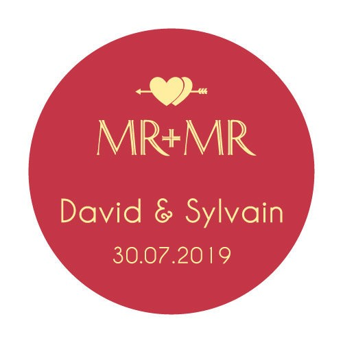 24 stickers Mr + Mr Double Coeurs