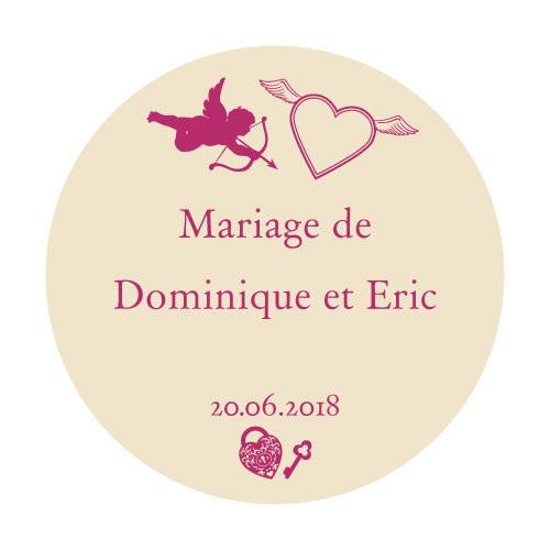 24 stickers Cupidon et Coeurs