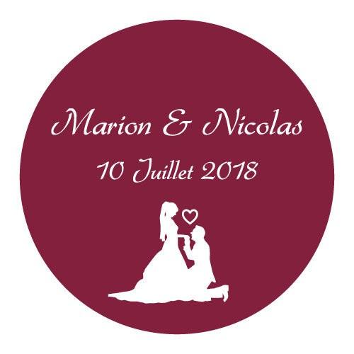 24 Stickers Baiser des mariés personnalisés