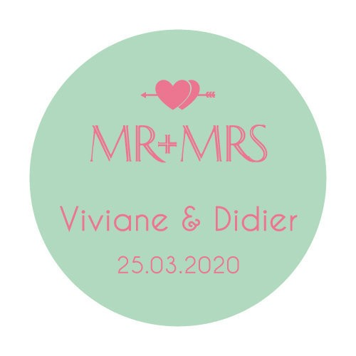 24 stickers Mr + Mrs Double Coeurs