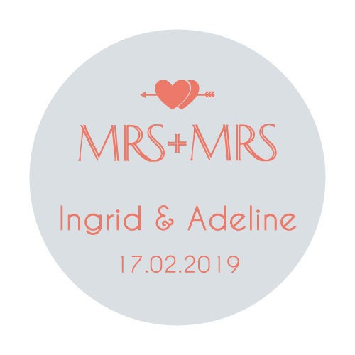 24 stickers ronds Mrs + Mrs Double Coeurs