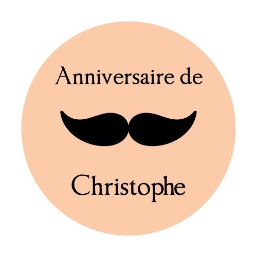 24 Stickers moustache personnalisés