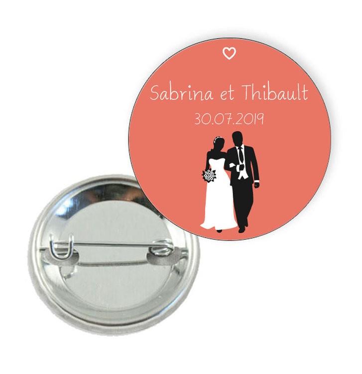 Badge motif Couple de Mariés - Prix Dégressifs
