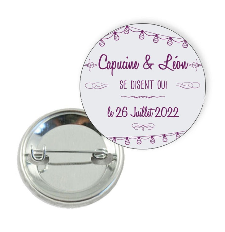Badge motif Save the date Guirlandes -Prix Dégressifs