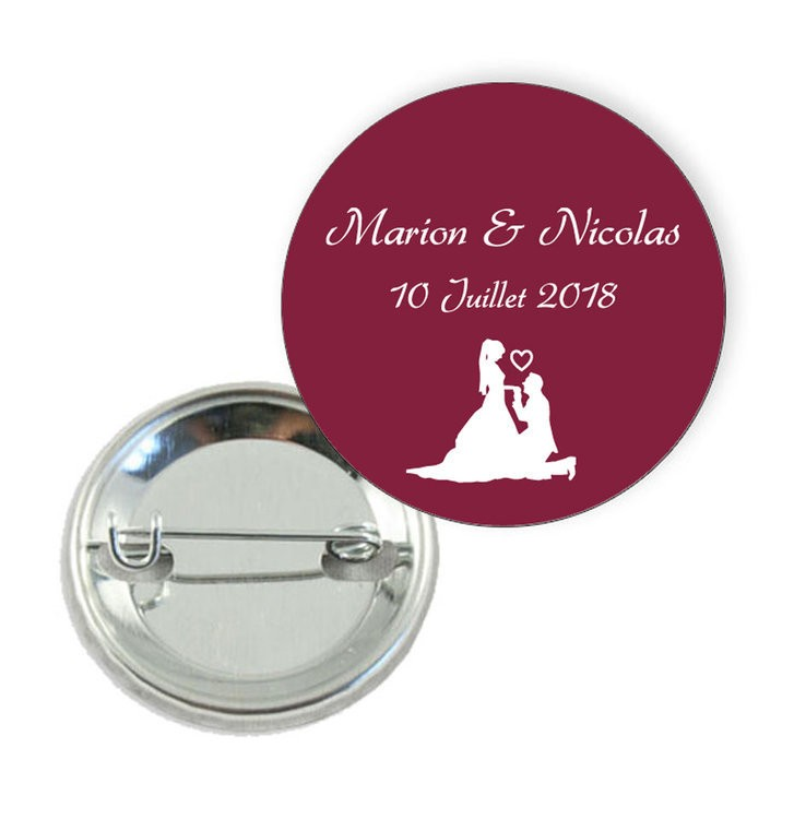 Badge motif baiser de mariés - Prix Dégressifs