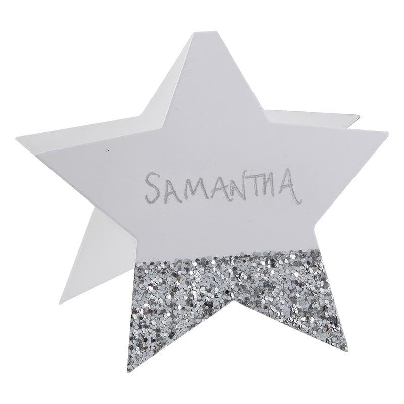 6 étiquettes marque-places étoile argenté