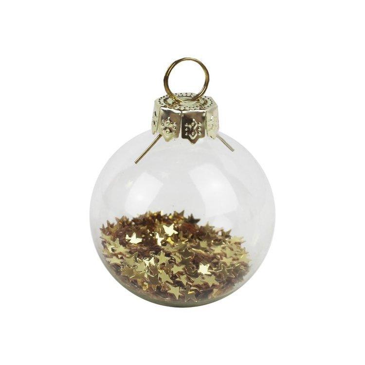 6 boules confettis étoiles dorées
