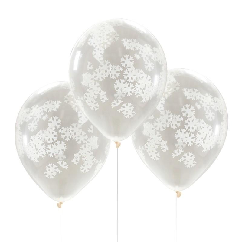 5 Ballons Confettis Flocon de Neige