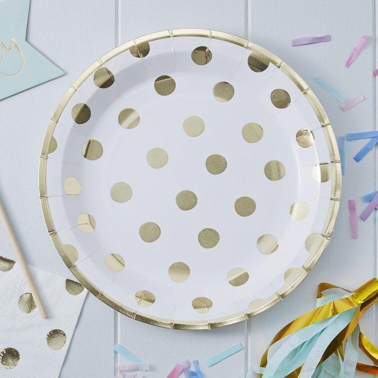 8 assiettes en carton blanches à pois gold