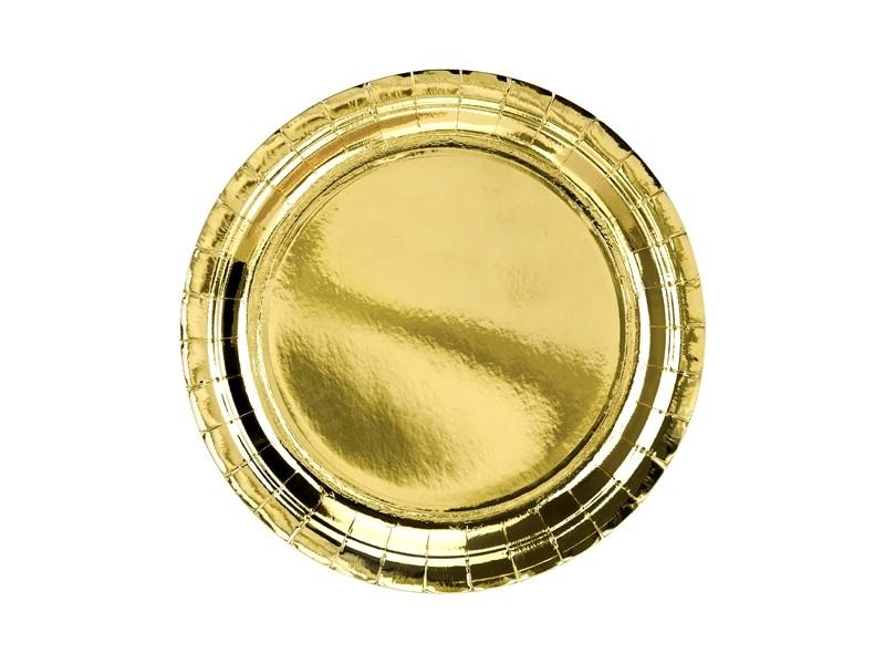 6 assiettes dorées