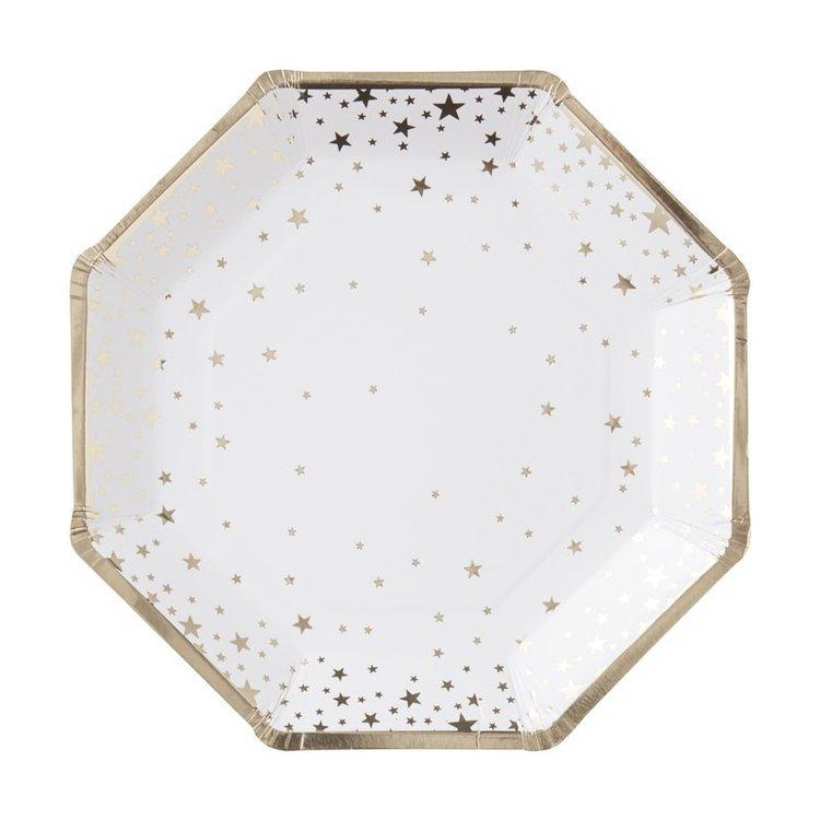 8 assiettes en carton blanches étoilées dorées